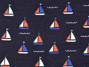 Jersey Segelboote Wellen, weiß mittelblau nachtblau