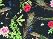 Jersey Pfauen Blüten Blätter Digitaldruck, pink grün schwarz