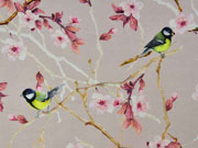 Jersey Vögel Kirschblütenzweige Digitaldruck, beige
