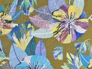 Viskose Crepe Blusenstoff tropische Blumen,türkis gelb khaki