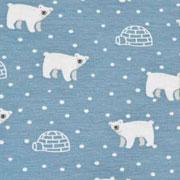 Jerseystoff Eisbären Iglos Punkte, weiß hellblau