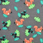 Jerseystoff Eichhörnchen Blätter Eicheln, dunkelgrau
