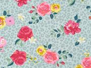 Jerseystoff Blumen Leomuster, mint