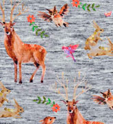Jersey Hirsche Rehe Hasen Digitaldruck, hellgrau meliert