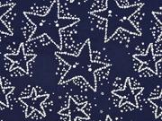 RESTSTÜCK 37 cm Baumwollstoff Sterne Glow in the Dark, dunkelblau