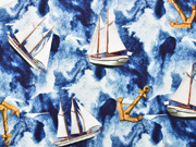 Jersey Segelboote Anker Digitaldruck, beige dunkelblau