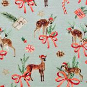 Jerseystoff Rehe Weihnachtsmütze Geschenke Digitaldruck, rot mintgrün