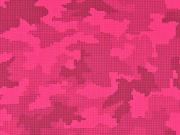 Softshell Stoff Camouflage reflektierend, silbergrau neonpink