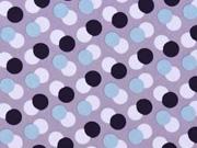 Softshell Stoff Jackenstoff Kreise, dunkelblau mint flieder