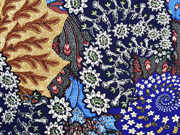 Viskose Stoff Blumen Ranken Korallen Meer, mittelblau dunkelblau