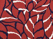 Viskose Stoff Blätter, dunkelblau terracotta