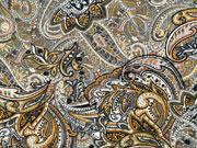 Viskosejersey Paisley Muster, ocker khaki dunkelgrau