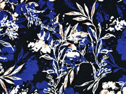 RESTSTÜCK 85 cm Viskosejersey Blumen Blätter, cremeweiß mittelblau schwarz