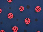 RESTSTÜCK 48 cm Softshell Stoff  Marienkäfer, rot dunkelblau