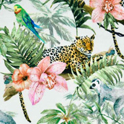 Jerseystoff Leopard tropische Blumen Blätter Digitaldruck, helles mintgrün