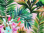 Jersey tropische Blätter Blumen Digitaldruck, grün hellrosa