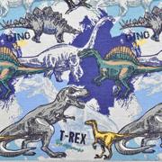 Jerseystoff Dinosaurier T-REX, jeansblau