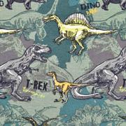 Jerseystoff Dinosaurier T-REX, grün