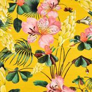 Jerseystoff Hibiskusblüten Blätter Digitaldruck,altrosa grün ockergelb