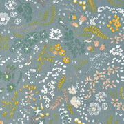 Bio-Baumwollstoff Blumen Zweige, ockergelb altmint