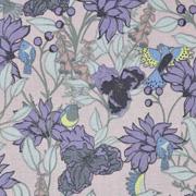 Baumwollstoff Blumen Vögel, lila mint hellaltrosa