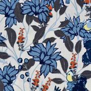 Baumwollstoff Blumen Vögel, rostbraun jeansblau hellbeige