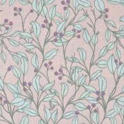 Baumwollstoff Blätter Blumen, mintgrün hellila hellaltrosa