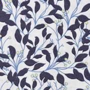 Baumwollstoff Blätter Blumen, dunkelgrau hellbeige