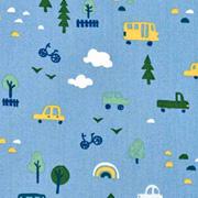 Baumwollstoff Autos Bäume, rauchblau