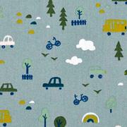 Baumwollstoff Autos Bäume, mintgrün