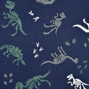 Jerseystoff Dinosaurier Skelett, dunkelblau