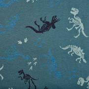 Jerseystoff Dinosaurier Skelett, dunkelgrün