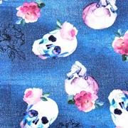 Jerseystoff Totenköpfe Blumen Jeanslook Digitaldruck,jeansblau