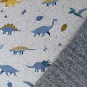 Sweatstoff Alpenfleece Dinosaurier, grau meliert
