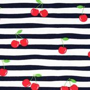 Jerseystoff Kirschen Streifen, rot navy weiß