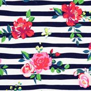 Jerseystoff Streifen Blumen Rosen, rosa rot navy weiß