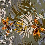 Viskose Jersey Stoff tropische Blätter, beige grau khakigrün