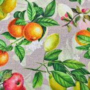 Dekostoff Orangen Zitronen Blätter Digitaldruck, orange gelb natur
