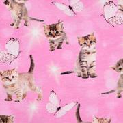 Jerseystoff Katzen Kätzchen Schmetterlinge Digitaldruck, beige rosa