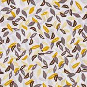 Bio-Baumwollstoff kleine Blätter, taupe ockergelb weiß