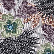 RESTSTÜCK 174 cm Viskosestoff Blumen, khaki brown