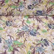 Chiffon Löwe tropische Blätter, grün braun beige