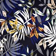 Viskose Jersey Stoff tropische Blätter, schwarz