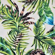 Viskose Jersey Stoff tropische Blätter, grün beige