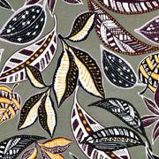 Viskose Jersey Stoff gemusterte Blätter,khakigrün