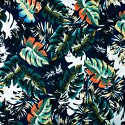 Viskose Jerseystoff tropische Blätter, dunkelblau