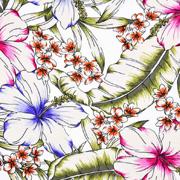 Viskose Stoff tropische Blumen Blätter, pink grün weiß