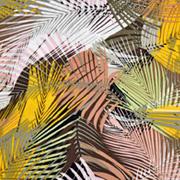 RESTSTÜCK 85 cm Viskose tropische Blätter gelb grün braun