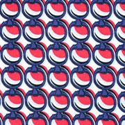 Baumwollstoff Stretch Kreise Ringe, dunkelblau rot