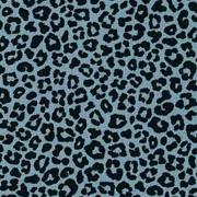 Baumwollstoff kleines Leoparden Muster, schwarz jeansblau